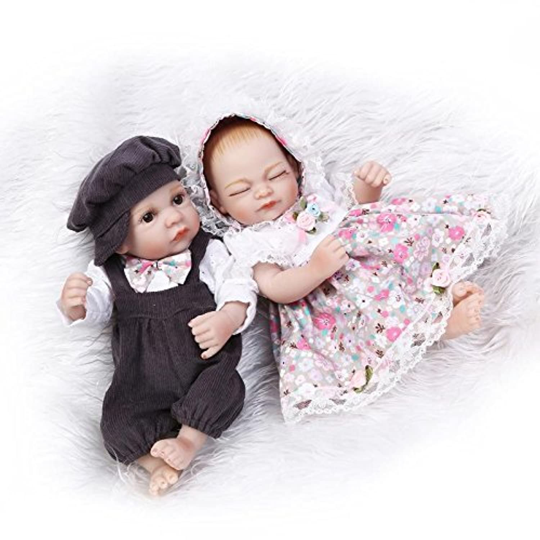NPKDOLL リボーンベビードールハードシミュレーションシリコーンビニール10インチ26センチメートル防水バース子供玩具プレゼントフラワー少年少女のアクリル目で Reborn Baby Doll A1JP