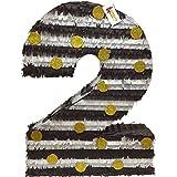 ブラックホワイト&ゴールドLarge数2つPinata 23