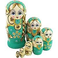Marbrasse キュート 小さな女の子 大きな編み込み 手作り マトリョーシカ 願い人形 ロシアンネスティング人形セット 7点セット 木製 子供 ギフト おもちゃ ホームデコレーション パープル