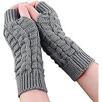 Unisex Knitted Wool Long Fingerless Gloves Autumn Winter Warmer Gloves
