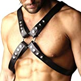iiniim Mens Adjustable PU Leather Body Chest Harness with Snap Armbands