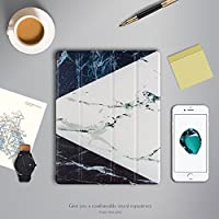 AIYOPEEN iPad 2 Ipad 3 Ipad 4 専用 TPU 下 Ping色大理石 PUレザー ケース カバー ケース(黒青白)