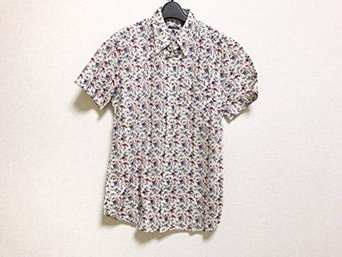 アンティーク浸漬ブリリアント(ミュウミュウ) MIUMIU シャツ 半袖シャツ メンズ アイボリー×レッド×マルチ 【中古】