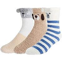 Fluffy Fuzzy Cozy Slipper Socks,Colorful Stripes Indoors Winter Warm Socks for Men,Value Pack