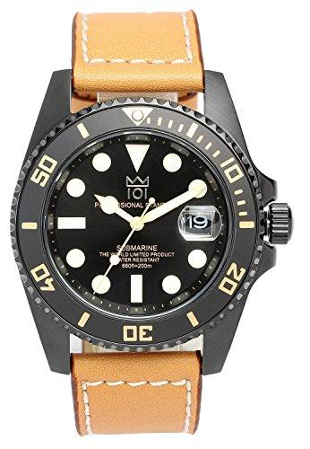 [HYAKUICHI 101] ヒャクイチ ダイバーズ 20気圧防水 腕時計 ウォッチ レザーベルト ロングタイプ メンズ