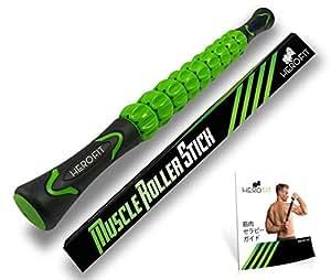 HERO FIT - マッサージローラー・スティック | トリガーポイント&筋筋膜リリース・ローリングマッスルマッサージャー (グリーン)
