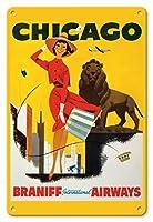 22cm x 30cmヴィンテージハワイアンティンサイン - シカゴ、風が強い都市 - ブラニフ 国際気道 - ビンテージな航空会社のポスター c.1950s