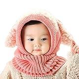 ICASSO赤ちゃん ベビー キッズ 子供用の可愛いウサギちゃん風 ニット帽子 選べる5色 可愛い防寒用のニット帽 (ピンク)
