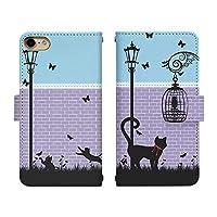 Carine iPhone 7 手帳型 スマホケース スマホカバー di015(B) 猫 cat キャット ストリート アイフォン7 スマートフォン スマートホン 携帯 ケース アイホン7 手帳 ダイアリー スマフォ カバー