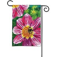 マグネットWorks , Ltd。ピンクフラワーwith Bee BreezeArt Garden Flag