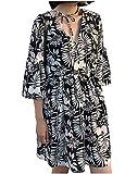[ネコート] 7分袖 花柄 ワンピース フレア ボリューム袖 膝丈 可愛い モノトーン シック M ~ XL レディース