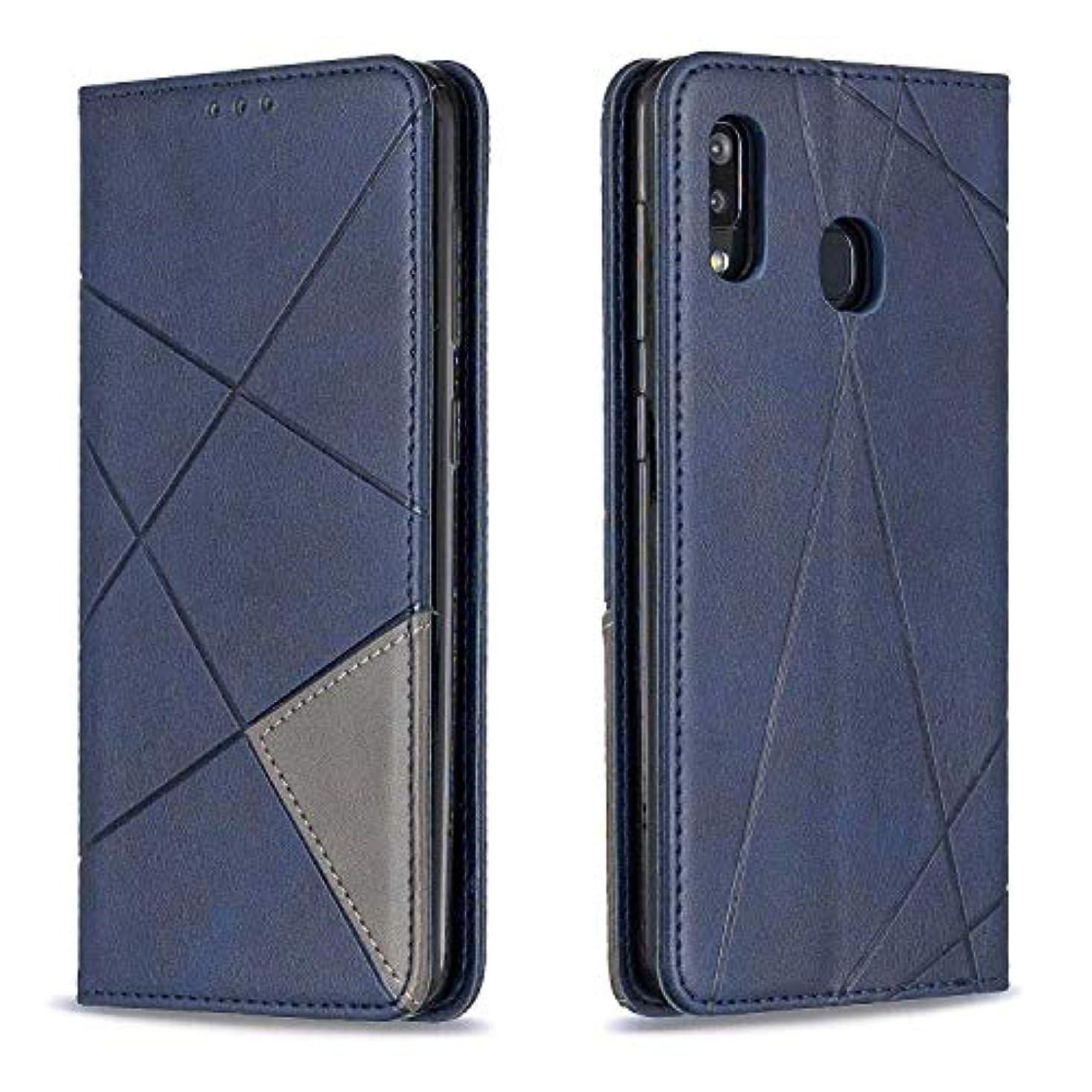 ライオネルグリーンストリート農学パドルCUSKING Galaxy A30 / A20 ケース, 高級 Samsung Galaxy A30 / A20 手帳型 スマホケース, PUレザー フリップ ノート型 カード収納 付き保護ケース, ブルー