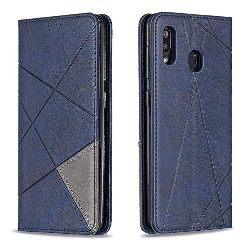 光沢のあるエンコミウム土地CUSKING Galaxy A30 / A20 ケース, 高級 Samsung Galaxy A30 / A20 手帳型 スマホケース, PUレザー フリップ ノート型 カード収納 付き保護ケース, ブルー