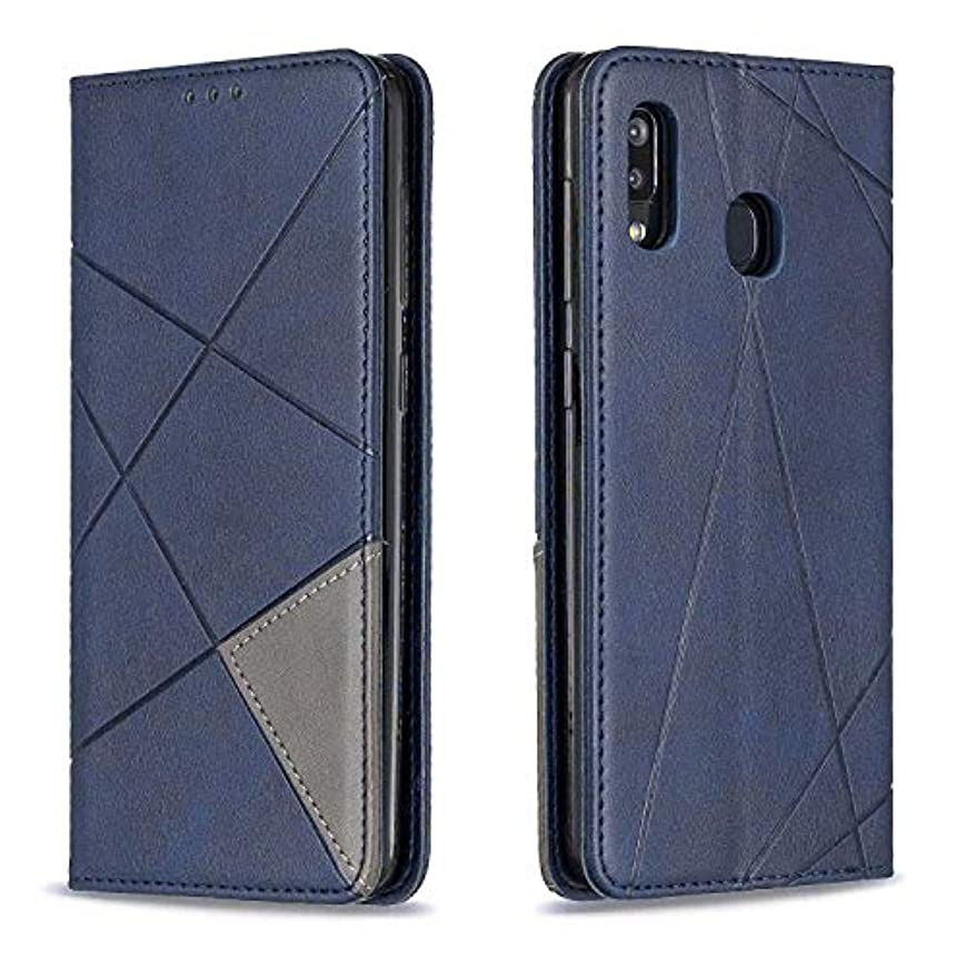 群集ウィスキー悪行CUSKING Galaxy A30 / A20 ケース, 高級 Samsung Galaxy A30 / A20 手帳型 スマホケース, PUレザー フリップ ノート型 カード収納 付き保護ケース, ブルー
