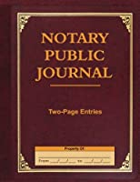Notary Public Journal Two-page Entries