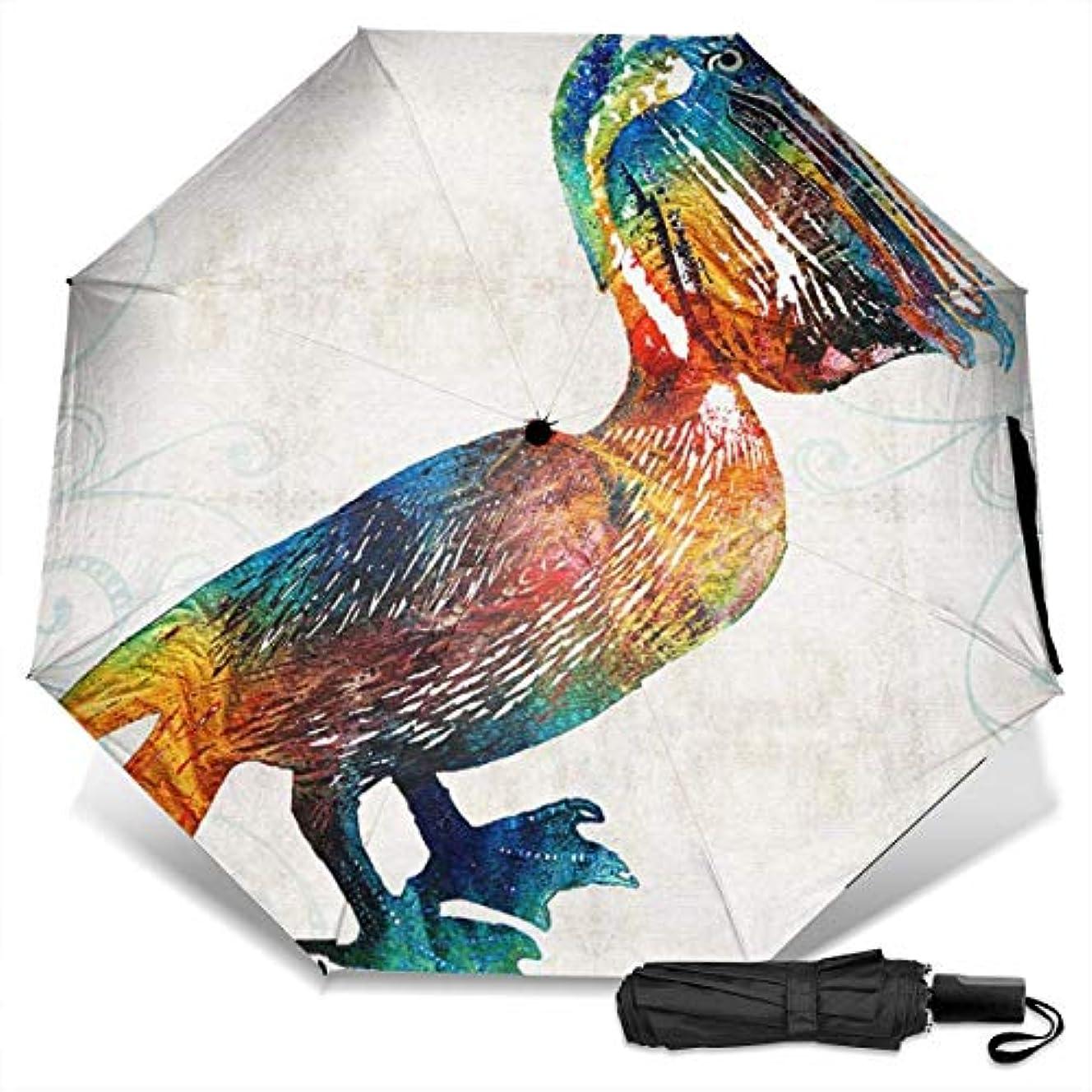 ウェイター同様の穴カラフルなペリカンアート折りたたみ傘 軽量 手動三つ折り傘 日傘 耐風撥水 晴雨兼用 遮光遮熱 紫外線対策 携帯用かさ 出張旅行通勤 女性と男性用 (黒ゴム)