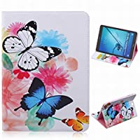 LEMORRY Samsung Galaxy Tab S2 / T815 (9.7inch) ケース カバー 手帳型, 人気のあります 蝶&花 柔らかいシリコンTPUラバーカバー + PUレザー ポーチフリップ カードスロット&スタンド機能 保護