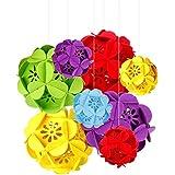 8個 フェルトフラワー ボール形 吊り上げ ポンポン DIY組み合わせで楽しい 華やかな装飾セット 誕生日 結婚式 飾り付け カラフル クリスマス デコレーション