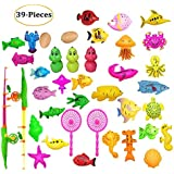 Sanwooden Interesting Toy Fishing Toy Set 39Pcs/Set Plastic Fishing Toy Magnetic Children Learning Education Game Kit Gift Toys for All Ages