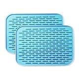 BOBILIFE-耐熱性にすぐれたシリコン鍋敷き - 鍋敷きとしてはもちろん、鍋つかみや、びんの蓋開けとしても(2枚セット) (ブルー)
