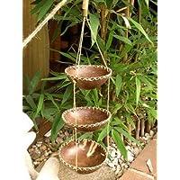 ココナッツ 小物入れ 吊り下げ 3段 ×模様 アジアン雑貨