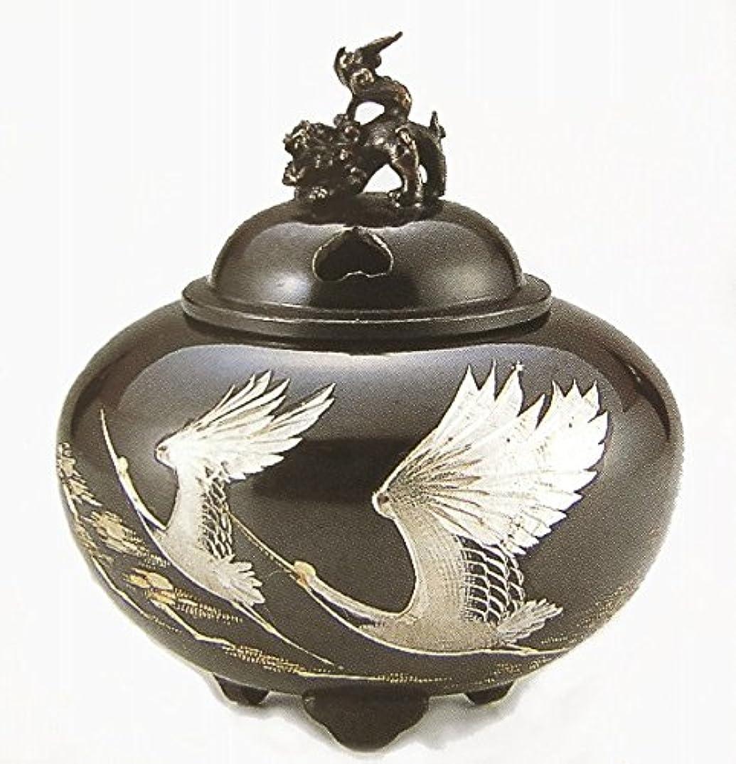 スタウト円形彼『平丸獅子蓋香炉?双鶴』銅製