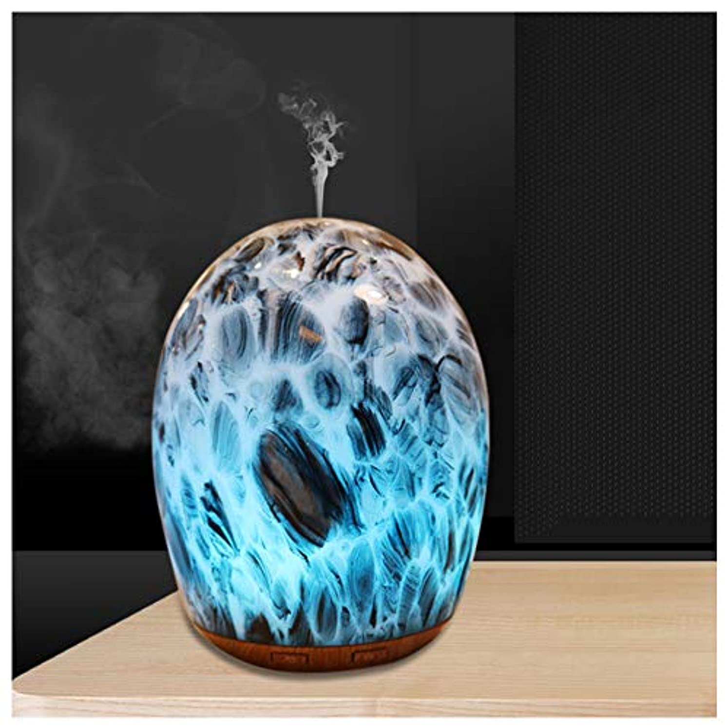 区別道徳化合物エッセンシャルオイルディフューザー超音波加湿器ポータブルアロマディフューザー、100ミリリットルガラス加湿器、水なし自動閉鎖、7色フレグランスランプ、ホームオフィス用ヨガスパ