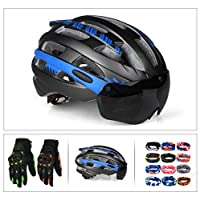 3パック大人用自転車ヘルメット&安全眼鏡&手袋&スカーフ、サイクリングロードヘルメットセット、調節可能58-62センチメートル、25個の統合フローベント (黄)