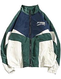 chenshiba-JP メンズマルチポケットcolorblockファッションのラグランスリーブジャケット