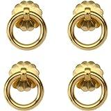 RZDEAL 4Pcs Antique Style Pure Brass pulls Ring Cabinet Drawer pulls Handles Hand Closet Cupboard Door Handles