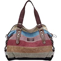 Koolertron Fashion Vintage Women's Shoulder Color Block Bag Canvas Tote Messenger Lady's Handbag Purse