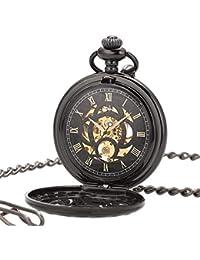 ManChDa ビンテージ ブラック 機械式 手巻き懐中時計 チェーン付き メンズ ギフトボックス付き