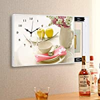 CAIJUN 壁時計 現代の 装飾画 ミュート 正確な操作 押し引き HD映像 防水、 12色、 5サイズ (色 : D, サイズ さいず : 70x60cm)