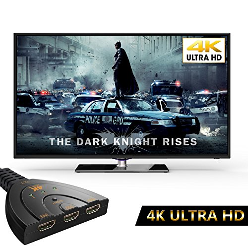HDMI切替器,4Kx2K hdmiスイッチ メス オス 1080P/3D対応 ハイビジョンオーディオ 3入力1出力 HDDレコーダー、PC、PS3、Xbox、AppleTV ゲーム対応 [品質保証]