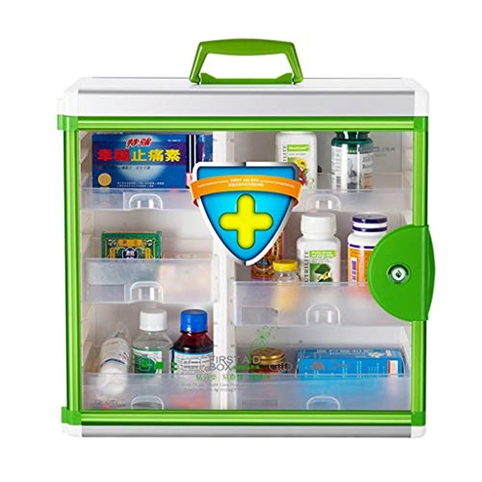 満州計算可能小川医療用キット 救急箱革ハンドストラップ救急箱を含む二重層分類大容量医療箱 QDDSP (Color : Green)