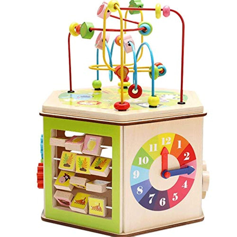 高音どれでも局ビーズコースター ルーピング パズル木のおもちゃ知的玩具赤ちゃんの早期教育六面体教育玩具、1-12男の子と女の子のためのギフトをビーズ 知育 アクティビティキューブ 子ども 知育玩具 (色 : マルチカラー, サイズ : 38x31cm)