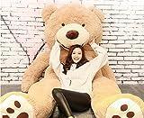 HYAKURI特大 くま/テディベア アメリカCostCo 可愛い熊 動物 大きい/巨大 くまぬいぐるみ/熊縫い包み/クマ抱き枕/お祝い/ふわふわぬいぐるみ (130cm, ライトブラウン)