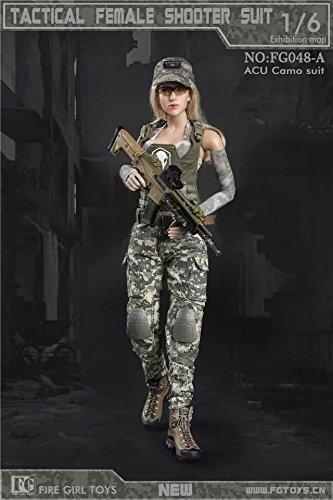 1/6 女性 迷彩 ベスト 帽子 袖 戦 闘靴 人形 ドール...
