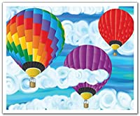 JP London Peel and Stick Removable Wall Decal Sticker Mural, Hot Air Balloon Painted Clouds, 24 by 19.75-Inch [並行輸入品]