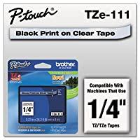 Laminated Tape Cartridge, For EZ Models, 1/4, Black/Clear, Sold as 1 Each by Brother