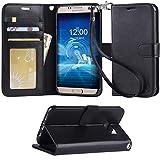 「Arae」 Samsung Galaxy S7 Edge ケース 手帳型 おしゃれ スタンド 財布型 ストラップ 衝撃吸収 マグネット カード 落下防止 全面保護 おすすめ 人気 ギャラクシー S7 エッジ 用 カバー (S7 edge, ブラック)