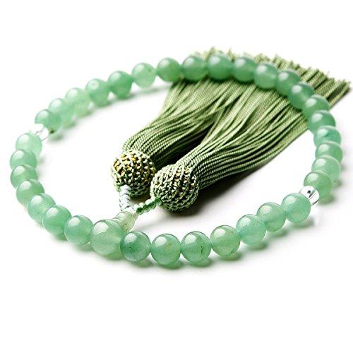 印度翡翠/本水晶 アベンチュリン 8mm 商品ポーチ(数珠袋)付 天然素材 念珠 数珠 女性用 男性用