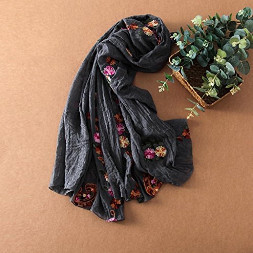 コイルも名誉あるGAODUZI 春と夏新しいナショナル風純粋な色のコットンスカーフ文学旅行の写真の刺繍カシューフラワーサンショール ( 色 : D )
