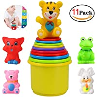 yaphtes早期教育玩具赤ちゃんおもちゃカップfor Toddlers and Infants Toys 1年Stackerおもちゃwith Animals ( 11pcs )