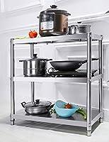 キッチンラック ステンレス製のキッチンシェルフ3層収納ラックフロア電子レンジラック (サイズ さいず : 80*45*80cm)