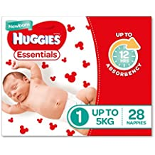 Huggies Essentials Nappies, Newborn Size 1 – Size 6