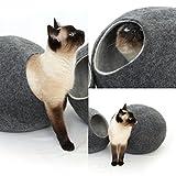 猫ベッド、ペットハウス、洞穴、うたた寝用の繭(コクーン)、100%ウールの100%ハンドメイド、Kivikis製 ダークグレー色