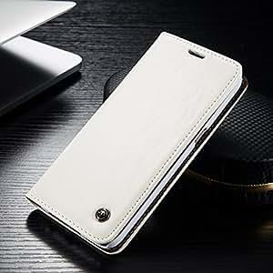 FLY SELINA Samsung Galaxy S7 Edge ケース 高級 本格レザー 手帳型 横開き カバー 革 マグネット式 カード収納 スタンド機能 ギャラクシー S7 エッジ 財布型 カバー 耐衝撃 ホワイト