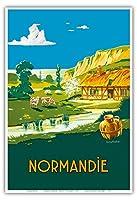 ノルマンディーフランス - 夏はここにあります - フランス国鉄 - ビンテージな鉄道旅行のポスター によって作成された リュシアン・バウバウト c.1930s - アートポスター - 33cm x 48cm