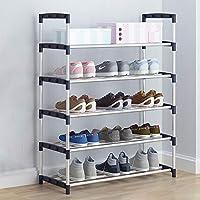 靴ラック_多層シンプルシューズラック、家庭用シューズキャビネット、各フロアに3ペアのシューズ(3/4/5/6ティア)ブラック